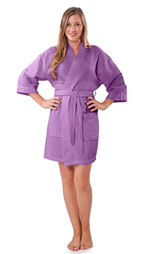 Turquaz Linen Lightweight Knee Length Waffle Kimono Bridesmaids Spa Robe (Lavender, Large)