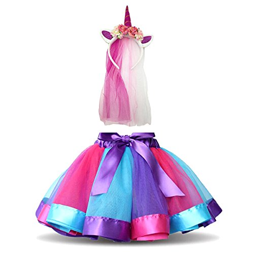 DIXIUZA Rainbow Tutu Gonna Abito Bambine Costume da Balletto con Unicorn per Dance Carnevale