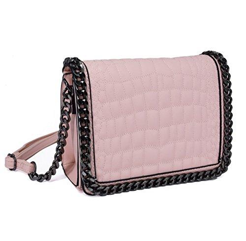 CRAZYCHIC - Damen Kroko Muster Ketten Umhängetasche - Mini Kleine Krokodile Leder Gesteppte Schultertasche - Kroko PU Stil Handtasche - Quadratische Messenger Crossbody Bag - Mode Trendy - Rose