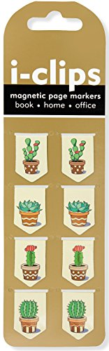 Succulents i-Clips Magnetic Page Markers (Set of 8 Magnetic Bookmarks)