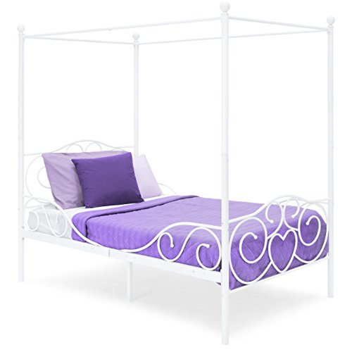 Best Choice Products 4-Post Metal Canopy Twin Bed Frame w/Heart Scroll Design, Slats, Headboard, and Footboard, White