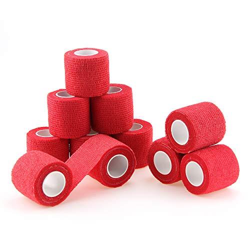 nilo Antiadherente vendas – 12 rollos de 5 cm x 4,5 m, rojo, etiqueta vendaje, elástico vendaje, Vet Wrap, Deportes Wrap