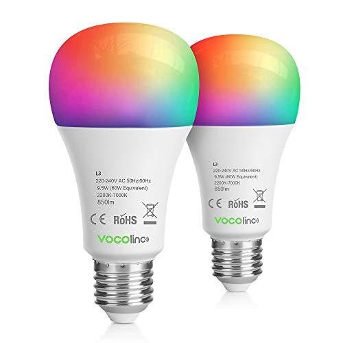 VOCOlinc HomeKit Bombilla LED Inteligente WiFi 9,5W E27 Funciona con Siri(iOS13+) Alexa Google 850 Lúmenes RGBW 16 Millones de Colores y 5 Efectos de Luz Soporte Horario y Temporizador (2 Pack)