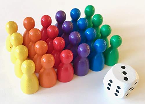 Spieltz Spielfiguren Set aus Holz für Ludo. Spielmaterial für Brettspiele. (Halmakegel Standardgröße, 12/24 mm, 6 x 4 Spielfiguren + 1 Würfel)