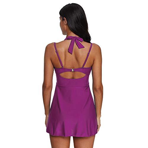 KEERADS Damen 2 Pieces Striped Print Summer Plus Size Bikini Tankini Swim Dress Swimsuit Beachwear Padded Swimwear Women Plus Size Beachwear Swimsuits Bikini Set - Purple - X-Small