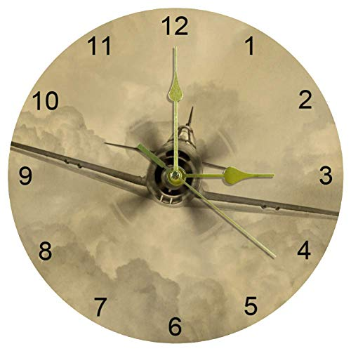 EZIOLY Fighter Flugzeug-Wanduhr, 25,4 cm, leise, nicht tickende Quarz-Wanduhr, batteriebetrieben, runde Wanduhren für Zuhause/Büro/Schule, Uhr