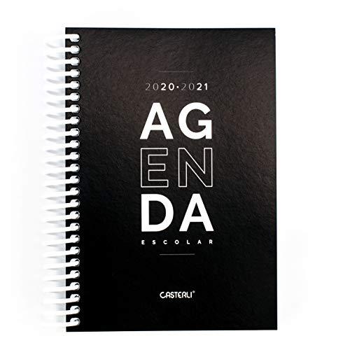 Casterli - Agenda Escolar 2020-2021 Basic Edition - Día Página, Tamaño A6 (Negro)