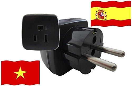 Urlaubs Reiseadapter Vietnam für Geräte aus Spanien Kindersicherung und Schutkontakt 250 Volt
