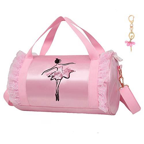 Cute Ballet Dance Bag with Key Chain Girls (Pink2 of Short Mesh)