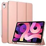 MoKo Hülle Kompatibel mit iPad Air 4. Generation 2020 Neu iPad 10.9 Zoll 2020, Schutzhülle Cover Smart Hülle Ständer mit Transluzent TPU Rückseite Stifthalter Kompatibel mit iPad 10.9 2020, Roságold