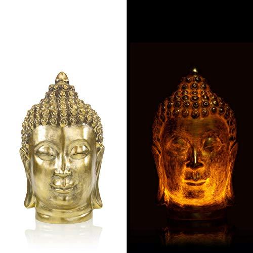 Buddha Kopf Deko Figur, LED Echtwachskerze - Motivkerze mit Flackereffekt und Timer (Gold)