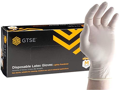 GTSE 100 Stück, Einweg-Latexhandschuhe weiß, Schutzhandschuhe, Größe XL