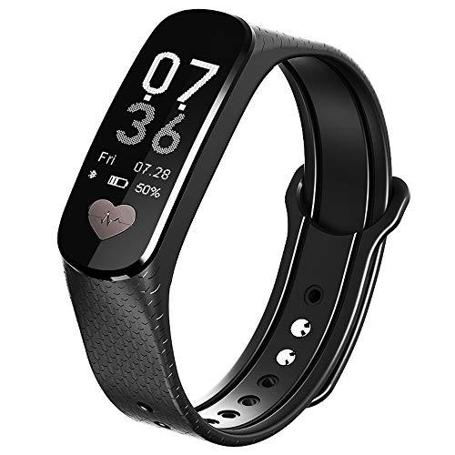 Zhongxingenggeng Fitness Armband/schrittzähler/Uhr Mit Schrittzähler/sportuhr/blutdruckmessgerät Handgelenk/smart Watch / IP67wasserdicht / Schwarz Blau Lila Rot (Color : Black)
