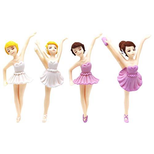 VALICLUD 4 Stück Ballerina Kuchendeckel 4 Ballett Mädchen Miniatur Figur Spielzeug Ballerina Spielset Party Requisiten Mini Ballett Kuchen Dekoration für Kinder Baby Dusche