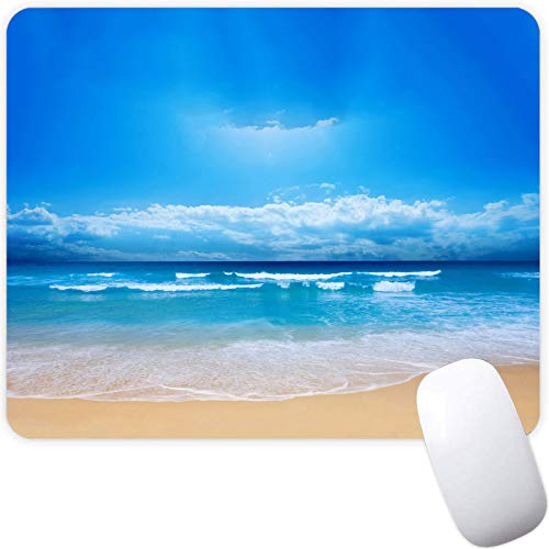 Mouse Pad for Boy Girl,Blue Sky White Cloud Beach Pattern Seamless Waterproof Gaming Mouse Pad Desk Accessories Non-Slip Rubber Mousepad for Laptop and Computer