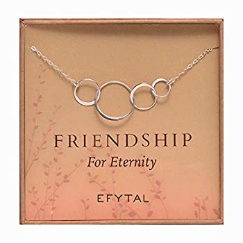 EFYTAL Four Friend Necklace Sterling Silver Friendship Interlocking Infinity Circles Gift 4 Best Friends group 40th Birthday Present.
