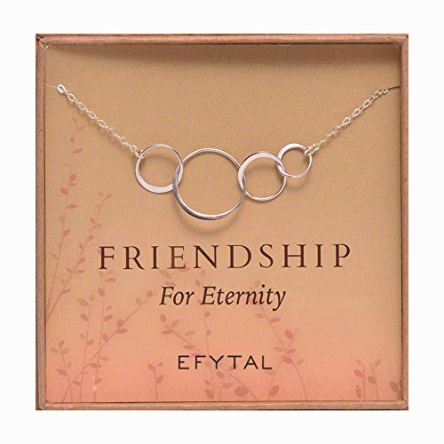 EFYTAL Four Friend Necklace, Sterling Silver Friendship Interlocking Infinity Circles Gift 4 Best Friends group. 40th Birthday Present.
