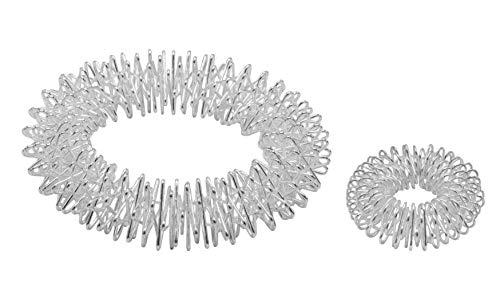 Power-Ring-Set - Armband (silber) + Ring (silber klein) / Akupressurringe