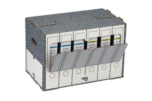 NIPS 152505124 ORDNER-ARCHIV-BOX, B 50,5 x T 30,0 x H 33,5 cm, 10er Packung, anthrazit/weiss¸