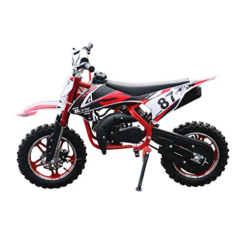GYZD Dirt Bike 49cc Gas Power Mini Dirt Bike Pit Bike Transmisión Completamente automática,Rojo