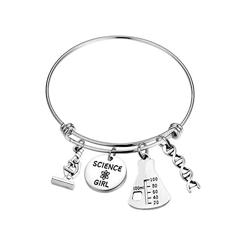 SEIRAA Biology Chemistry Jewelry Science Girl Bracelet Science Graduation Gift Microscope Charm Science Teacher Gift (Science Girl Bracelet)