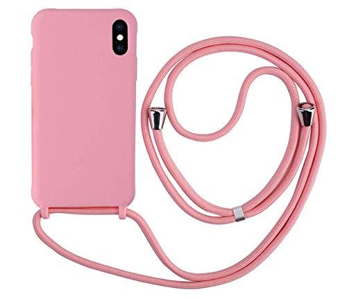 MEVIS Cover Compatible con iPhone X/XS Max,Cover con Pratico Cordino,con Cordino TPU Corda Silicone Case Bumpe-Rosa Scuro