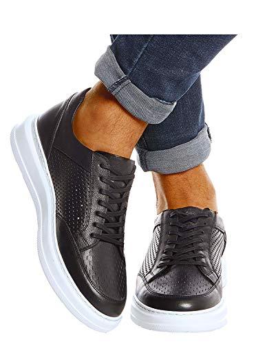 Leif Nelson Herren Schuhe Leder Freizeitschuhe elegant Winter Sommer Freizeit Männer Sneakers Sportschuhe Laufschuhe Halbschuhe LN437 Größe 44 Schwarz