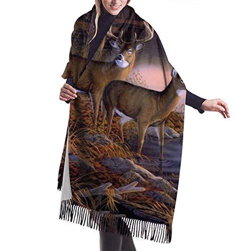 JONINOT Elk Bravo Vision River Edge Deers Forest Cashmere Bufanda Ligero de gran tamaño Primavera Suave bufandas de invierno Chales con flecos