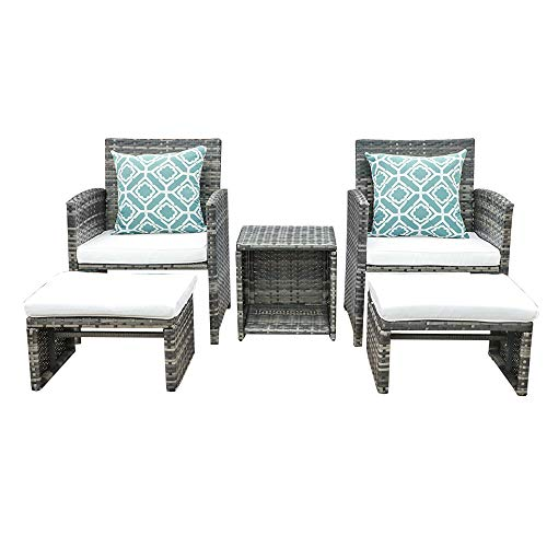 OC Orange-Casual 5 Piece Wicker Outdoor Furniture Set Rattan Bistro All Weather Conversation Set with Ottoman, Coffee Side Table, Outdoor Indoor Use Backyard Porch Garden Poolside Balcony