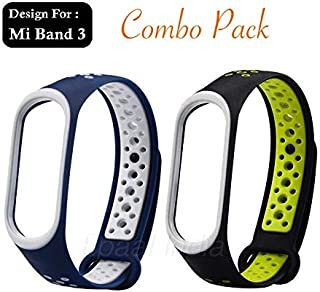 Epaal TPU Silicon Band Strap for Xiaomi Band 3/4, Mi Band 3 / Mi Band 4 (Combo: Blue + Green-Under)