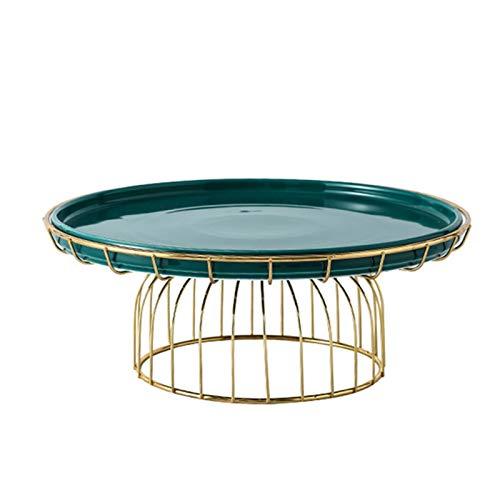 JISHIYU Soporte de pastel reutilizable con marco de hierro, bandeja de pasteles de cerámica, bandeja de la porción multifuncional, soporte para pasteles, ensalada, plato, bollo, plato de desierto, pla
