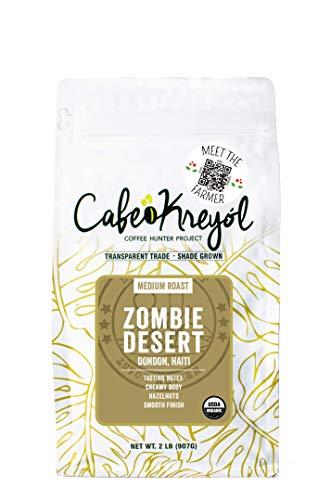 Cafe Kreyol Organic Zombie Desert | 2 lb - Haitian Blue Medium Roast Coffee - Whole Bean – Low Acidity, Creamy Body & Hazelnuts with a Smooth Finish, USDA Certified Organic