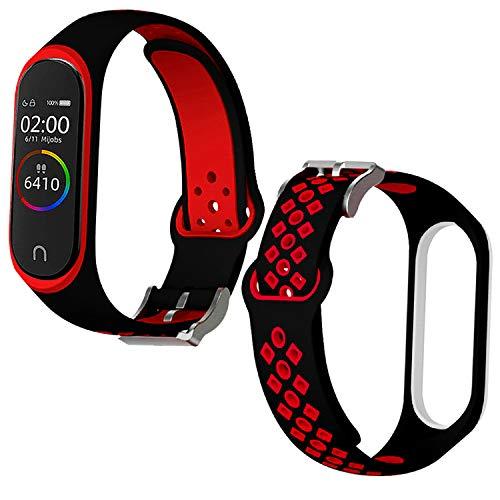 Th-some Correa para Xiaomi Mi Band 4 / Mi Band 3, Agujero de Aire Transpirable Colorido Suave Silicona Bracelet de Repuesto Deportivo, Correa de Silicona Suave Reemplazable Pulsera, Rojo y Negro