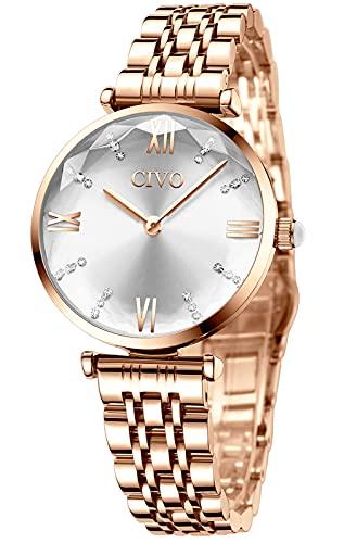 Reloj Mujer Relojes Oro Rosa Pulsera Analogico Minimalistas Acero Impermeable Inoxidable Reloj para Mujeres Moda Casual Calendario Fecha Negocios Vestid Cuarzo Harina
