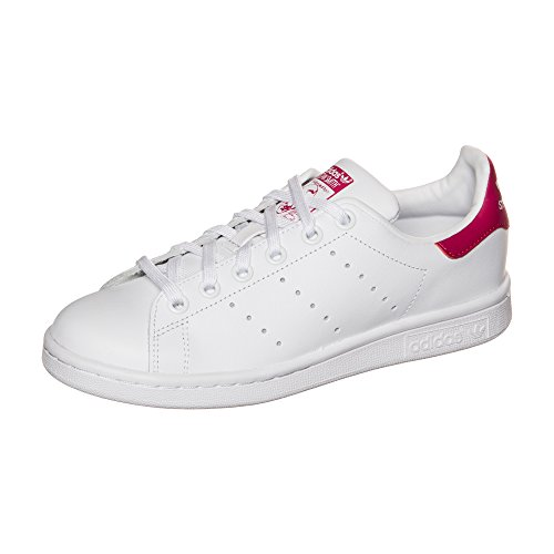 adidas Unisex Kinder Stan Smith J B32703 Low-Top, Weiß (FTWR White/FTWR White/Bold Pink), 35.5 EU