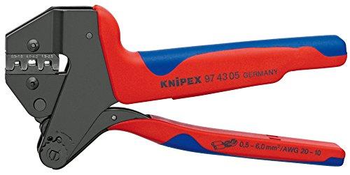 KNIPEX 97 43 05 Crimp-Systemzange für auswechselbare Crimpeinsätze brüniert mit Mehrkomponenten-Hüllen 200 mm
