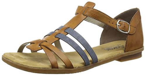 Rieker Mujer Sandalias de Vestir 64288, señora Sandalia con Tiras, Sandalias Romanas,Zapatos del Verano,Cayenne/Denim / 25,36 EU / 3.5 UK