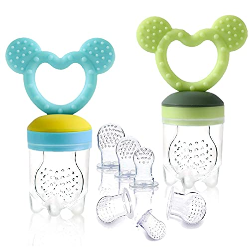 Gedebey Baby Food Pacifier Feeder – (2 Pack) Fruit Silicone with Pacifiers Meshes Infant Toys Fresh Frozen Fruit Toy Newborn Hygienic Nibbler Cover Set (Mickey Blue&Green)