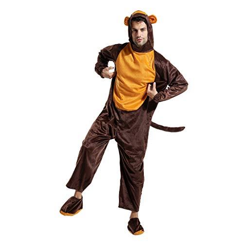EraSpooky Disfraz de Mono Animal Unisex Disfraz de Pijama Fiesta de Halloween Traje Divertido para Adultos Hombres Mujeres