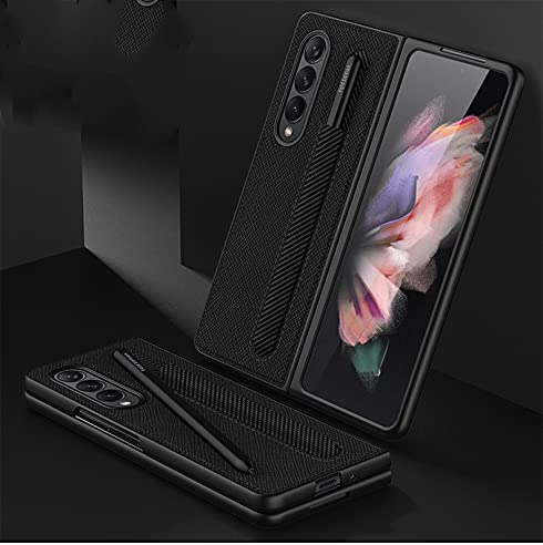 for Samsung Galaxy Z Fold 3 5G Case with Pen Holder,Z Fold 3 Leather Case,Luxury Business Pu Leather Case with Pen Slot for Samsung Galaxy Z Fold 3 5G (Cross Black)