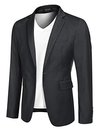 COOFANDY Mens Blazer Sports Coat Slim Fit Sport Jackets Casual One Button Jacket (Dark Grey XS)