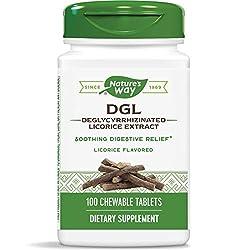 commercial Nature's Way DGL 3: 1 (Licorice Deglycyrrhizinate) digestive aid, original, 100 chewable tablets dgl licorice