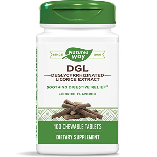 Nature's Way DGL 3:1 (Deglycyrrhizinated Licorice) Digestive Relief, Original, 100 Chewables