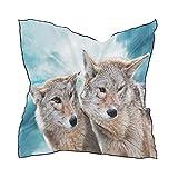 Ahomy Lot de 2 écharpes carrées pour femme Motif loup coyote 60 x 60 cm