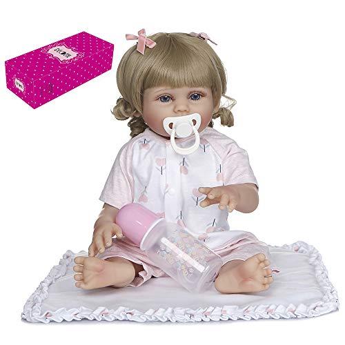 Duotar Boneca Reborn,Reborn Baby Doll Silicone Corpo Inteiro 19 polegadas Bonecas de Banho Fofas Bonecas de Cabelo Loiro Encaracolado Olhos Azuis Boneca Menina Linda Roupa Rosa