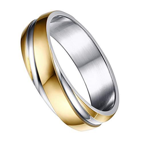 Happyyami 1 anel masculino delicado de liga de titânio, charmoso anel banhado a ouro elétrico, anel de aço de titânio para homens e mulheres empresariais 2.52*2.52*0.6cm
