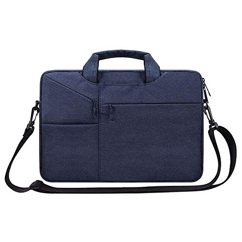 LICHONGGUI ST02S Waterproof Tear Resistance Hidden Portable Strap One-shoulder Handbag for 14.1 inch Laptops, with Suitcase Belt(Black) (Color : Navy Blue)