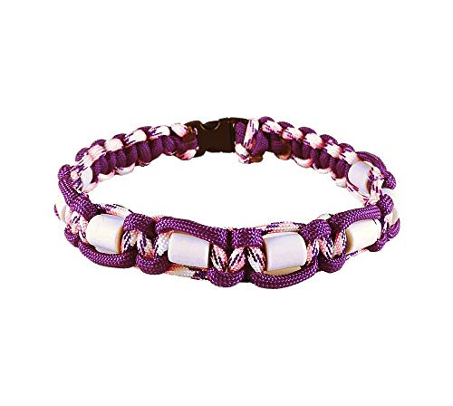 EM-Keramik Halsband für Hunde, mit Name möglich, verschiedene Größen wählbar, original EM-X-Keramik-Pipes, violett/weiß-lila-gemustert