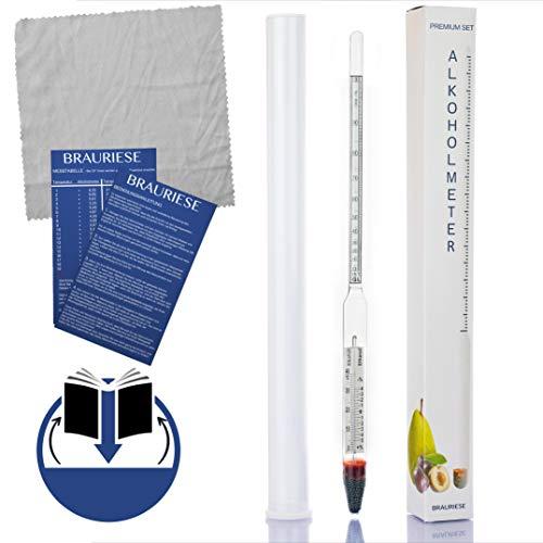 Brauriese Premium Alkoholmeter Set - Alkoholspindel inklusive edlem Glaszylinderund praktischem Mikrofasertuch - All IN ONE Set - Hydrometer Alkohol (MIt Thermometer)