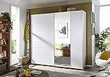 Rauch Kleiderschrank/Schwebetürenschrank Santiago 2-türig. Weiß Alpin mit Spiegel, 6 Einlegeböden, 2 Kleiderstangen, 1 Hakenleiste, Türdämpfer-Set, BxHxT 218x210x59 cm